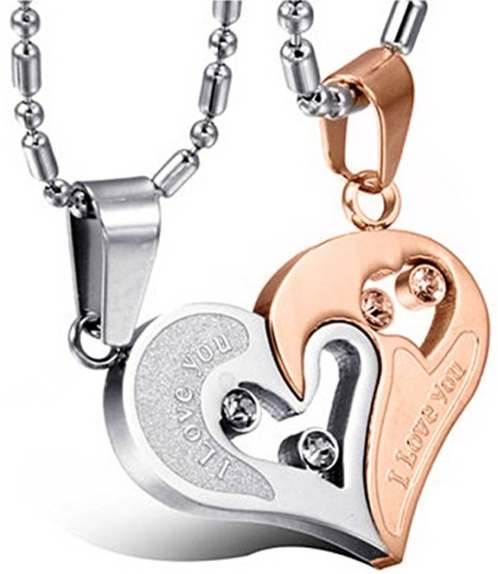 67720c6d2c Peora Stainless Steel Love Heart CZ I Love You Puzzle Matching Couple  Pendant Necklace Stainless Steel Pendant Price in India - Buy Peora Stainless  Steel ...