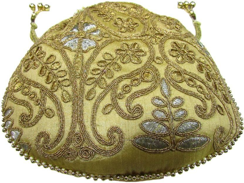 Deepsum Ethnic Traditional Raw Silk Potli Clutch Bags