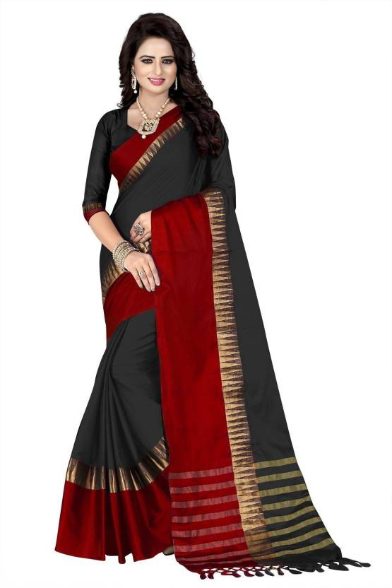 36484f556d6d21 Buy HashTag Fashion Temple Border Chanderi Cotton Silk
