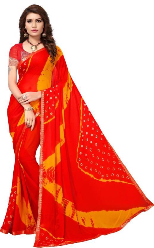 4835c358c2 Buy Yashika Printed Bandhej Pure Chiffon Red Sarees Online @ Best ...