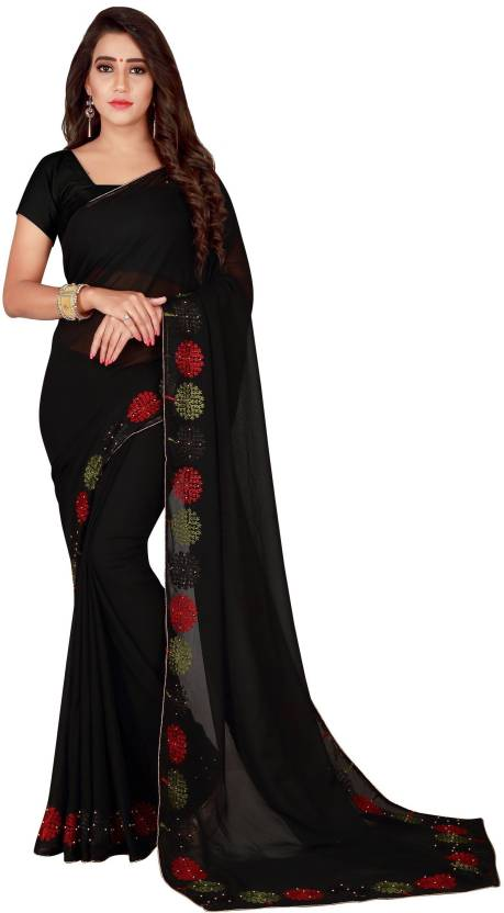 da0096aa1e Avsar Prints Embellished, Embroidered Bollywood Faux Georgette Saree (Black)