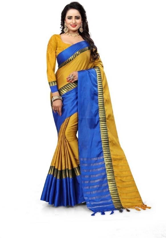 89f75f128 Mahaarani Self Design Fashion Cotton Silk Saree (Blue