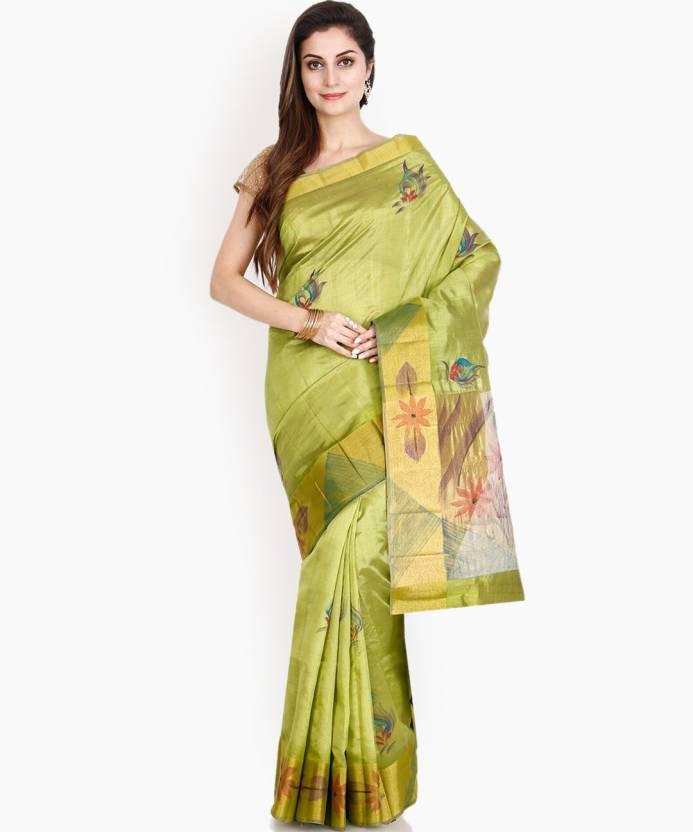 828d04adb5 Buy The Chennai Silks Printed Banarasi Chiffon Green Sarees Online ...