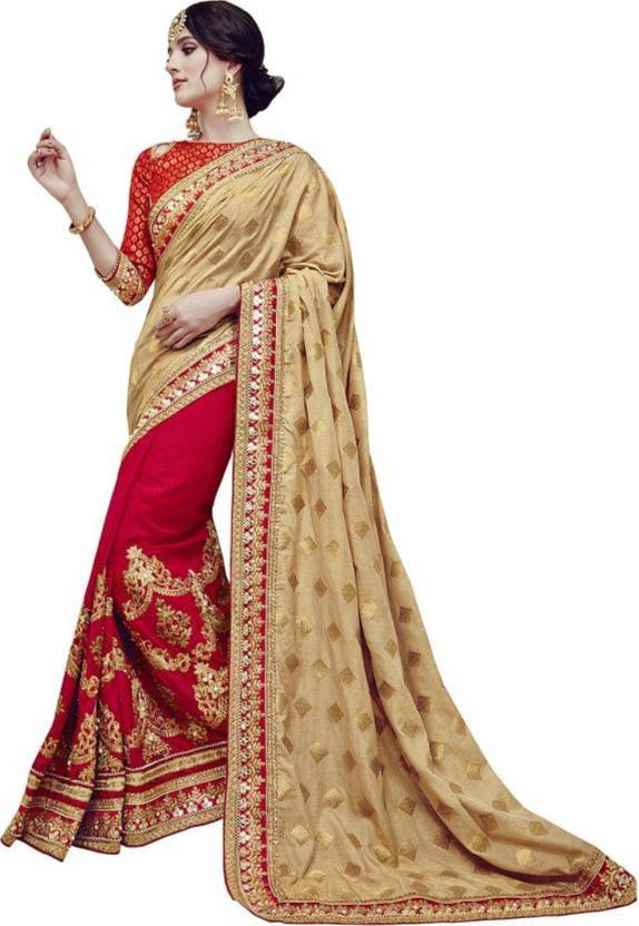 7bd7e20095eff1 Nirjas Designer Embroidered, Applique Bollywood Georgette Saree (Red, Gold)