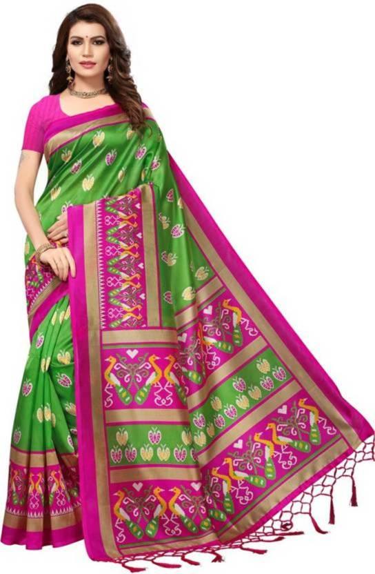 a59c6bea5a Buy Varni fashion Printed Banarasi Cotton Silk Green, Pink Sarees ...