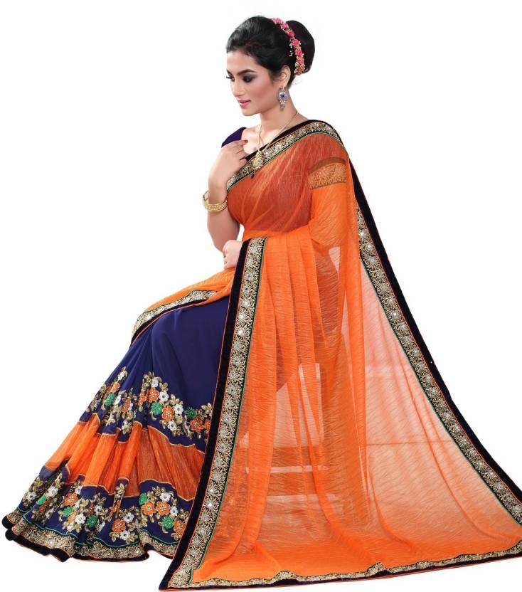 4103fd4f1f9819 Geet Fashion Solution Embroidered Bollywood Lycra, Georgette Saree (Orange,  Blue)