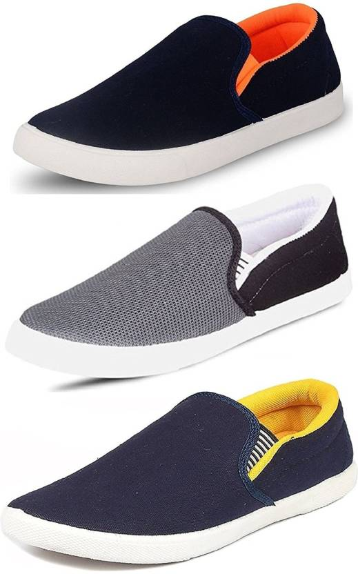 eea850ea6 World Wear Footwear Combo-(3)-486-489-488 Slip On Sneakers For Men (Blue)