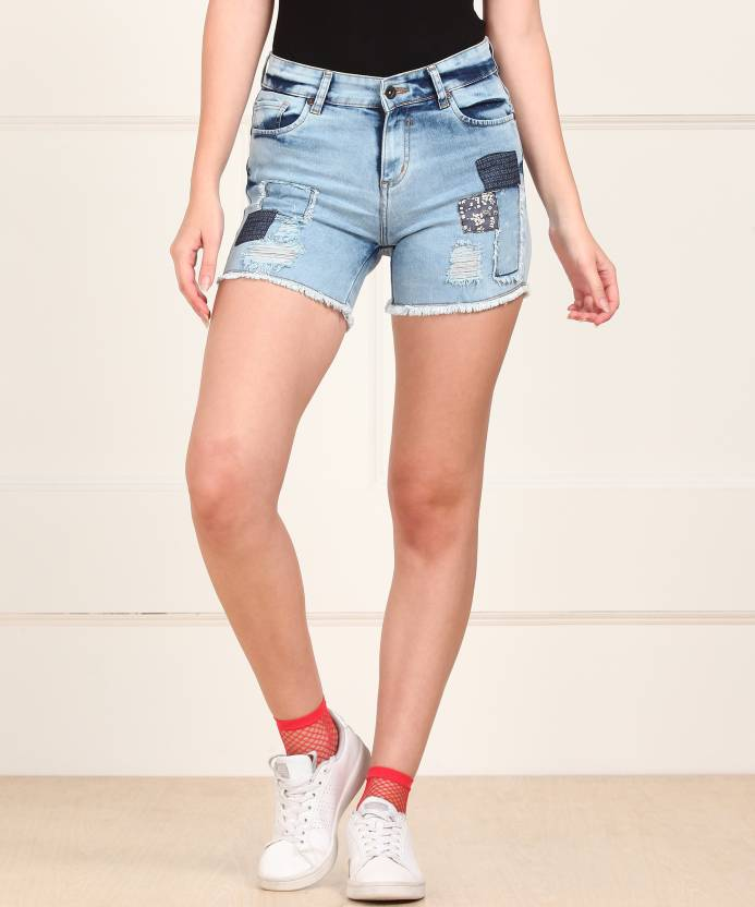 dde5b2a73a9 Pepe Jeans Distressed Women s Blue Denim Shorts - Buy BLUE Pepe Jeans  Distressed Women s Blue Denim Shorts Online at Best Prices in India