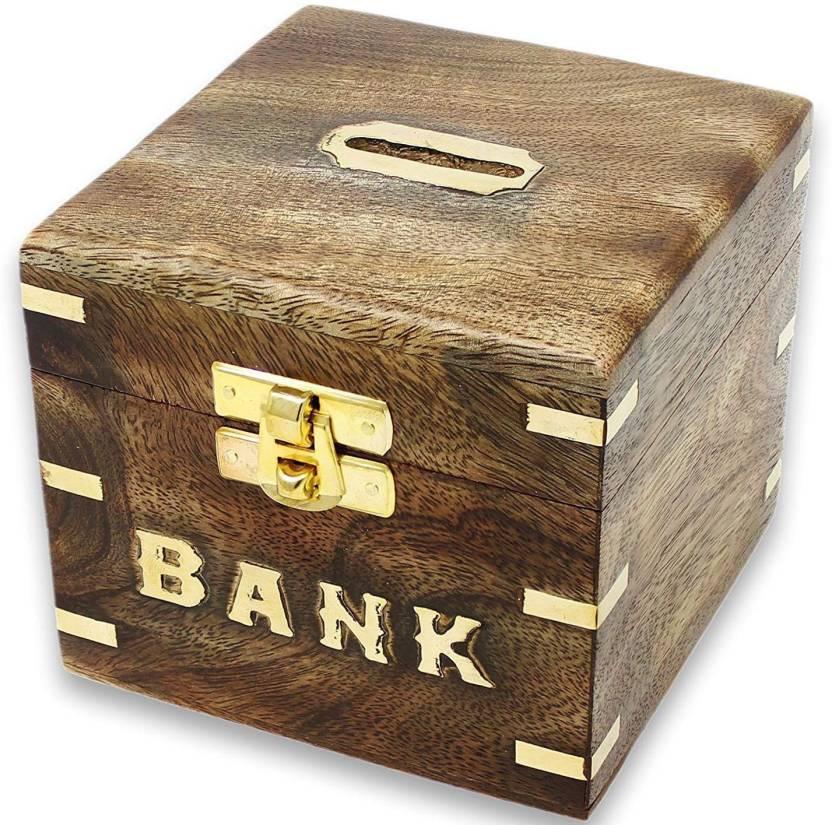 SKAVIJ Handmade Wooden Piggy Bank Storing Coins Cash Box For Kids