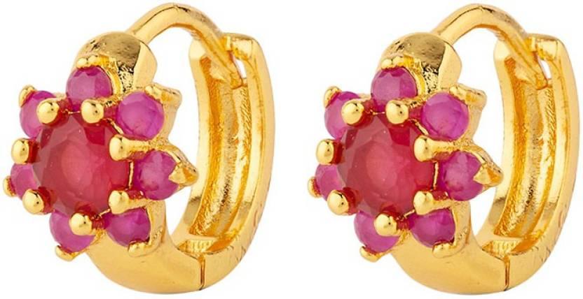 6889db30b5f23 Flipkart.com - Buy Voylla Ruby Floral Micro Hoop Earrings Crystal ...