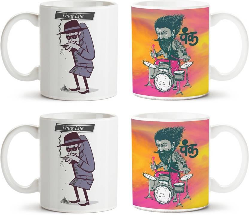 MotivateBox India 4 white mugs Combo with 4 designs like