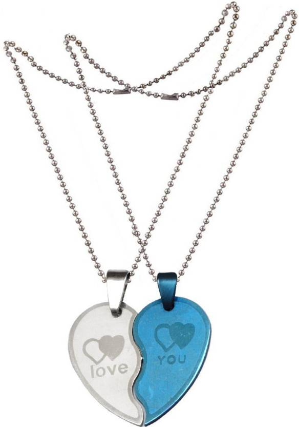 124bab3154 Men Style New Couple Lovers Heart Love You Jewelry For Friendship Gift (2  pieces - his and her) Stainless Steel Pendant Set Price in India - Buy Men  Style ...