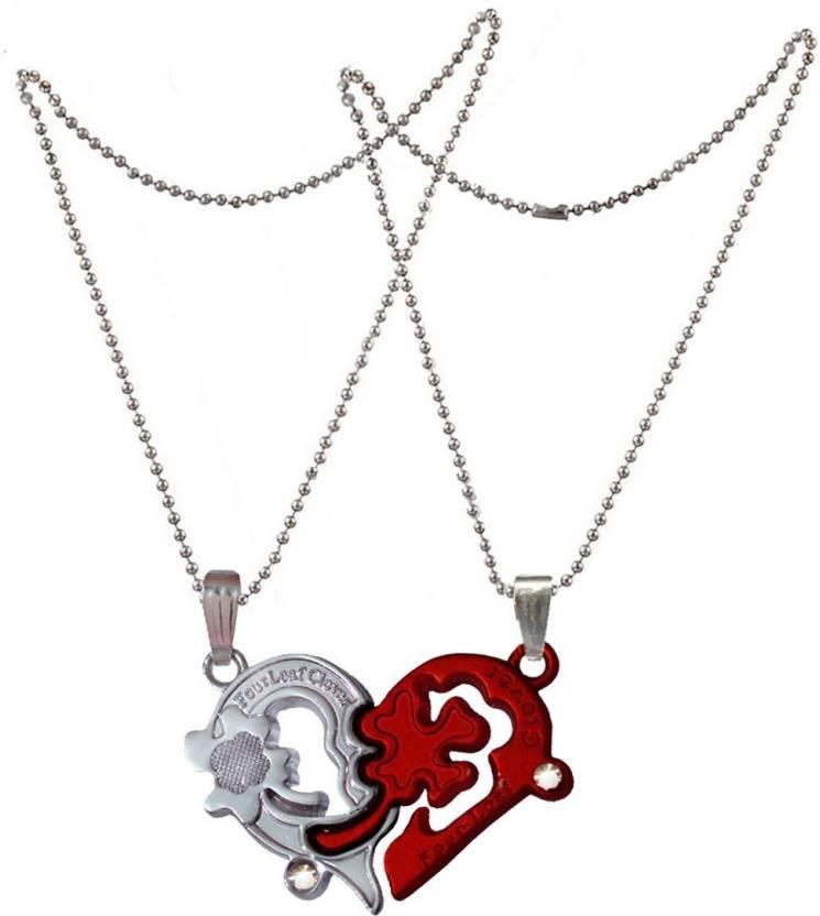 a7f5ac368b Men Style Puzzle Love & Heart Four Leaf Clover coupleLocket With 2 Pcs  Chain Zinc Pendant Price in India - Buy Men Style Puzzle Love & Heart Four  Leaf ...