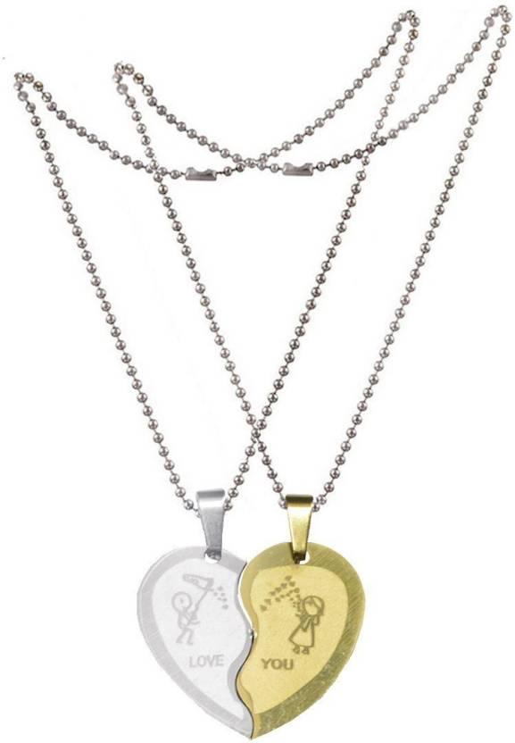Men Style Couple Broken Heart Choker Necklaces Engrave Love You
