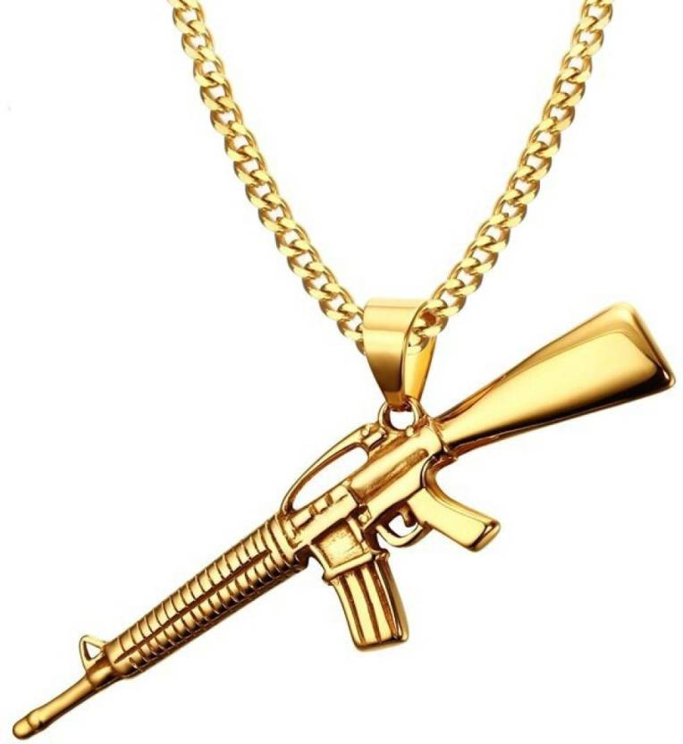 University Trendz SOLID GOLD AK-47 RIFLE GUN HIP HOP STYLE