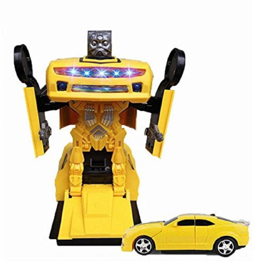 P17 collection Car Converting To Robot Transformer Toy For Kids Yellow