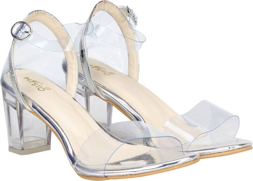 132bfb00fd7 misto Women TRANSPARENT SILVER Heels - Buy misto Women TRANSPARENT SILVER  Heels Online at Best Price - Shop Online for Footwears in India