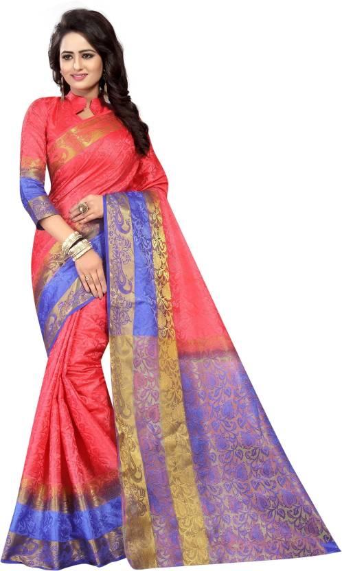 3dc9c51f52 Buy NG CREATION Self Design Banarasi Cotton Silk Blue, Red Sarees ...