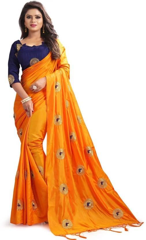78d0475002b2b7 Buy 3Buddy Fashion Embroidered Bollywood Silk Orange Sarees Online ...