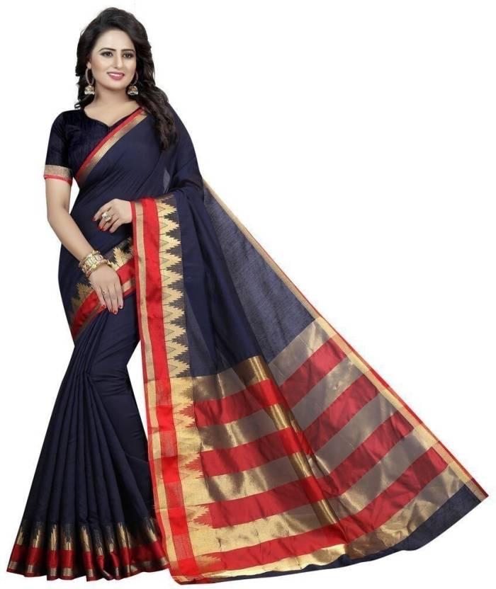 bd52abc607 Buy PURVI Self Design Banarasi Cotton Blue, Gold Sarees Online ...