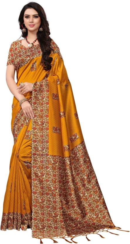 49f0762c476ca Buy Anni Designer Floral Print Fashion Silk Yellow Sarees Online ...