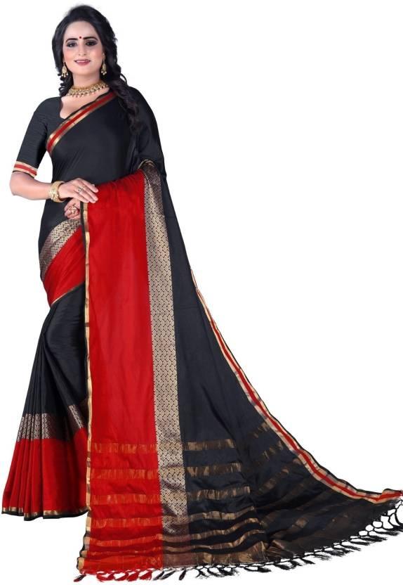 c8d0ee04ae10ae Fancy Fab Self Design Fashion Cotton Silk, Jacquard, Silk Linen Blend,  Cotton Linen Blend Saree (Black, Red)