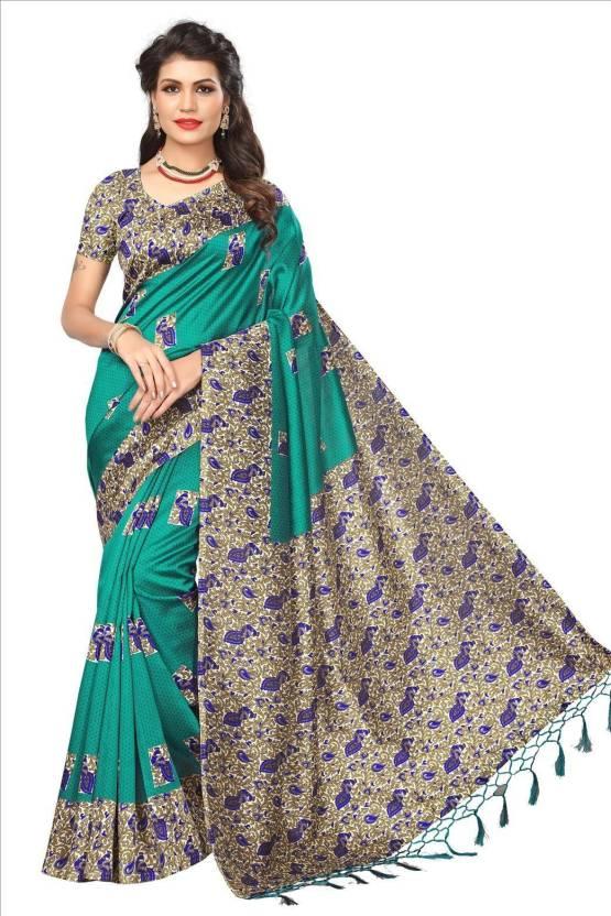 19597eb07c Buy Saree Exotica Floral Print Mysore Art Silk Dark Green Sarees ...
