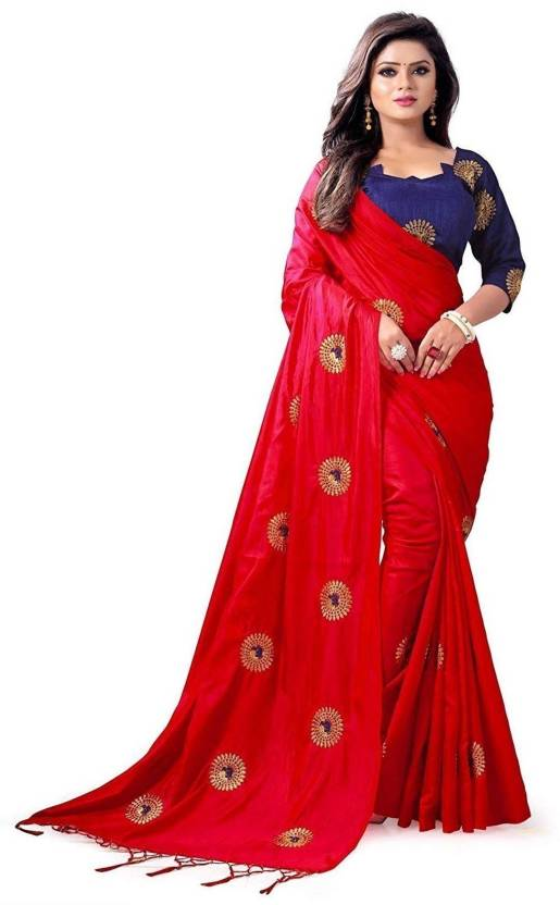 967ad2b52f Buy DHARITRI SAREE Embroidered Bollywood Pure Silk Red Sarees Online ...