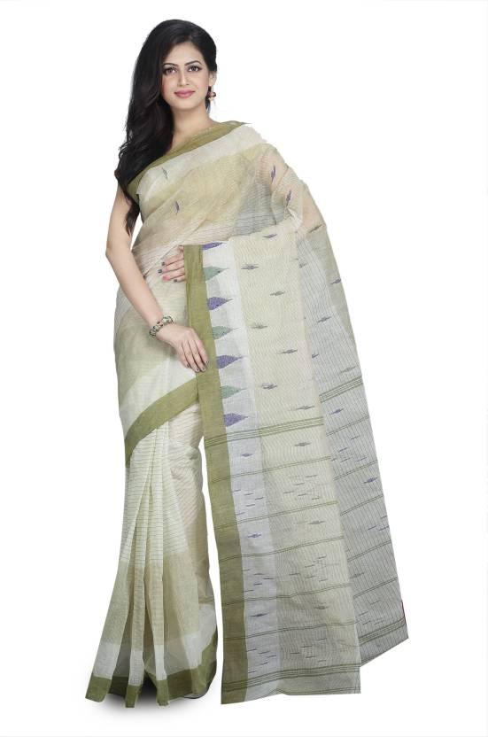 2407e3c303 Rudrakshhh Woven Tant Handloom Pure Cotton, Khadi Saree (Beige, Light Green)