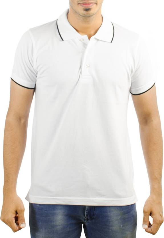 Superb Carbon Ni Solid Men Polo Neck White T Shirt Theyellowbook Wood Chair Design Ideas Theyellowbookinfo
