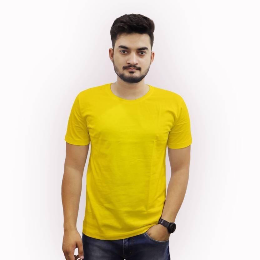 eaeda7f5 the Chambal Solid Men Round Neck Yellow T-Shirt - Buy the Chambal ...