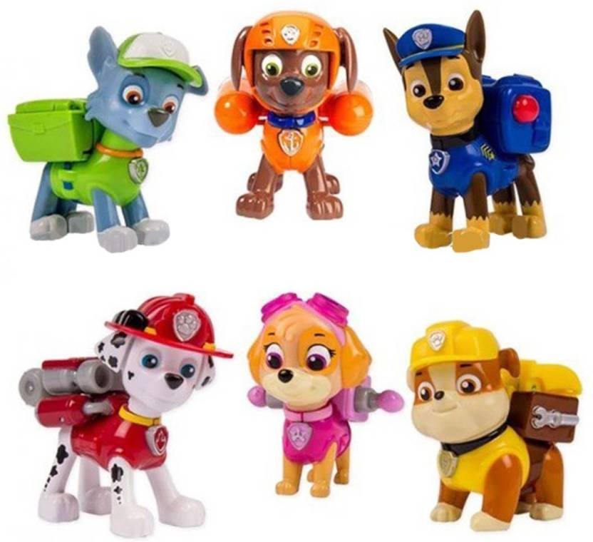 327e8cbe0e12d IndusBay Rescue Mission Paw Pups Set of 6 - Paw Patrol Pups Marshall , Chase  , Rubble, Zuma, Skye & Rocky 3 inches Height (Multicolor)