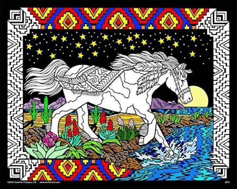 StuffColor Stuff2Color Midnight Bronco - 16x20 Fuzzy Velvet Coloring ...