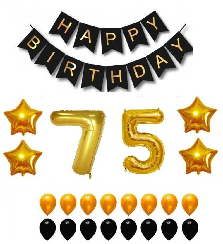Theme My Party Happy Birthday Balloons Supplies Decorations Set Black Gold 75th Year Price In India