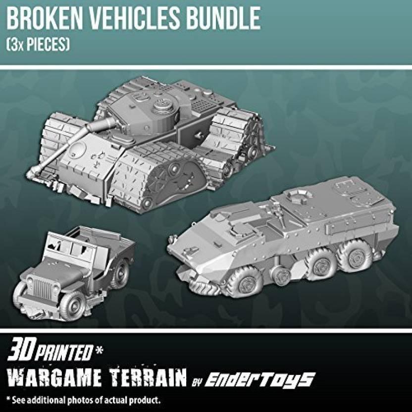 EnderToys Broken Vehicles Bundle, Terrain Scenery For Tabletop 28Mm