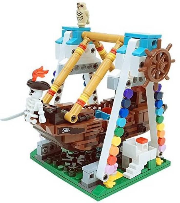 RONSHIN Colorful Mini Building Blocks Kit Pirate Ship Model
