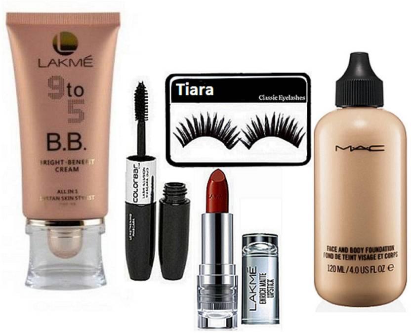 81a8181f95 tiara Eyelashes , Mac Face & Body Foundation , Lakme Enrich Lipstick , Lakme  9 to 5 BB Beauty blam , Color Bar Eyelienr & Mascara (Set of 5)
