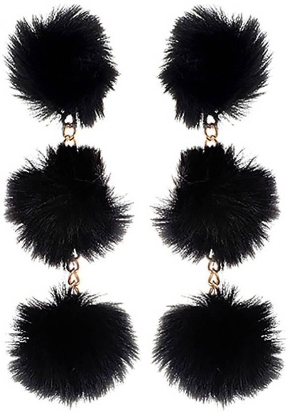 601c1846e340a Flipkart.com - Buy Young & Forever Long Pom Pom Statement earrings ...
