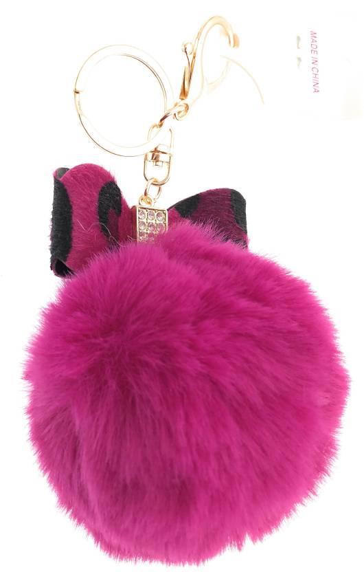 DORRON Stylish Leopard Pattern Bowknot Design Fluffy Faux Fur Pom Pom  Keychain   Keyring for Car Key Ladies Bag Purse   Suit case Key Chain Price  in India ... 80336f54c69bc