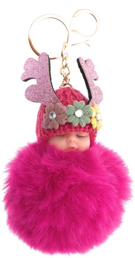 DORRON Stylish Cute Sleeping Baby Design Fluffy Faux Fur Pom Pom Keychain    Keyring for Car Key Ladies Bag Purse   Suit case (Magenta) Key Chain Price  in ... 2f4dc32255f7e
