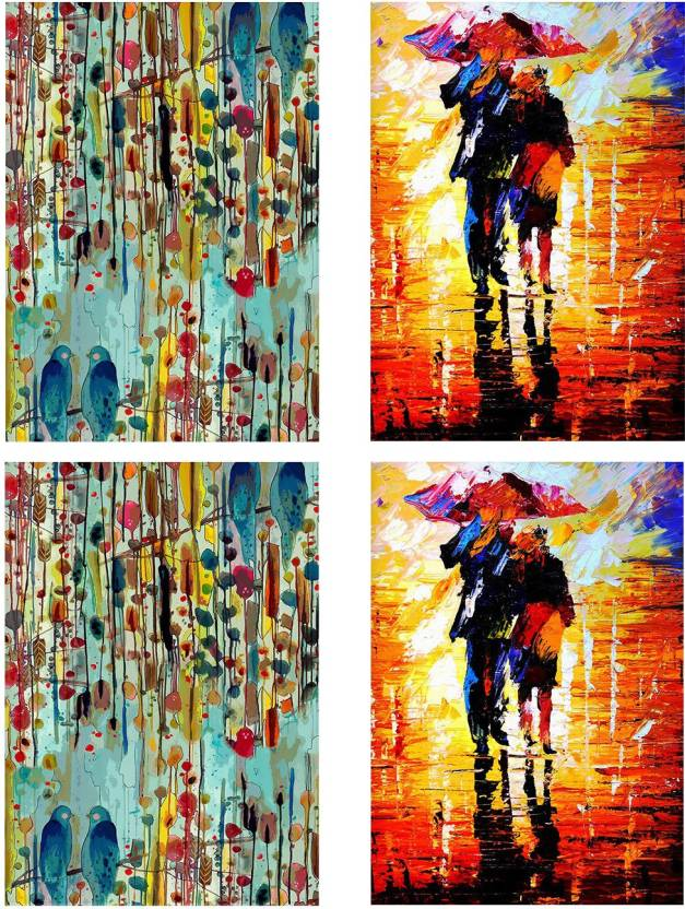 Combo Posters Set Of 4 Rolled Posters With Birds Canvas Painting