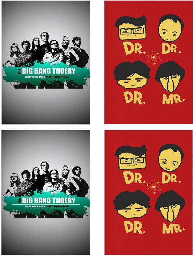 Combo Posters Set Of 4 Rolled Posters With Big Bang Theory Design
