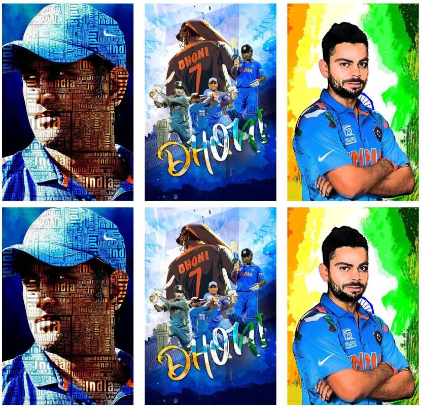 Set of 6 posters rolled in a tube with M S  Dhoni design and M S