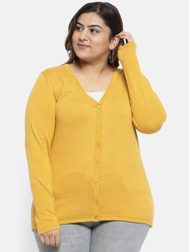 aLL Solid V-neck Casual Women Yellow Sweater - Buy aLL Solid V-neck Casual Women  Yellow Sweater Online at Best Prices in India  01aa912e5