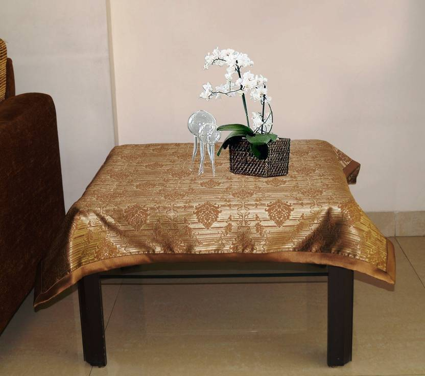 Lushomes Printed 4 Seater Table Cover Choco Polyester