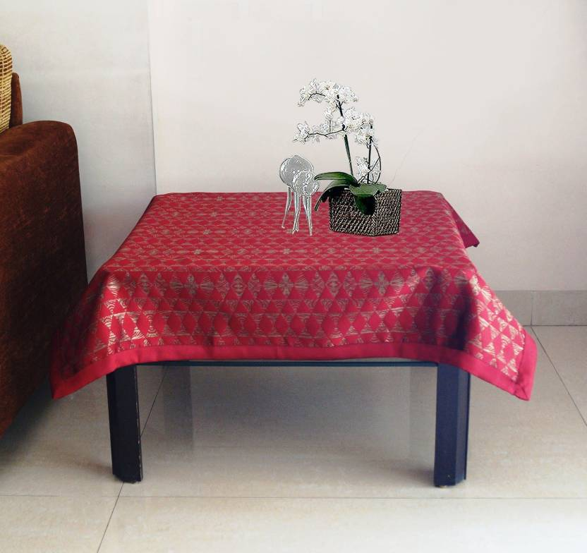 Lushomes Printed 4 Seater Table Cover Red Polyester