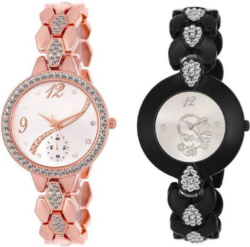 9f8d3bc21f3 Lifetime latest fancy combo of two rosegold and black metal belt girl s  wrist watch for girls