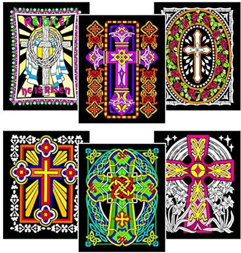 StuffColor Stuff2Color Crosses - 6 Pack of Fuzzy Velvet Coloring ...