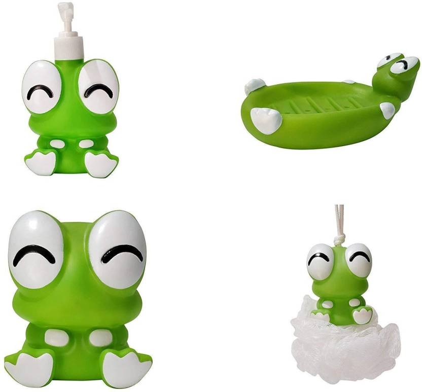 FLICK IN Frog Character Bathroom Set for Kids |Lotion Dispenser Soap Dish Loofah Toothbrush Holder