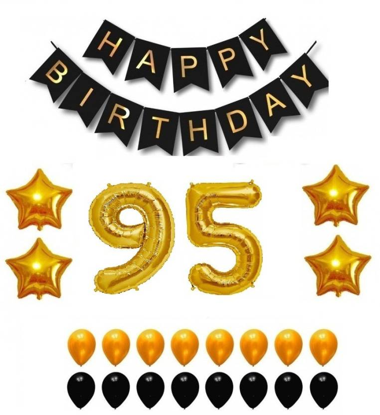 Theme My Party Happy Birthday Balloons Supplies Decorations Set Black Gold 95th Year Price In India
